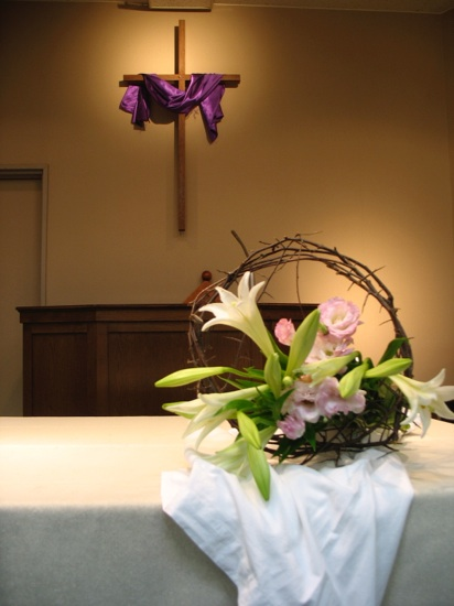 Crosses decorated for easter inside and outside the church