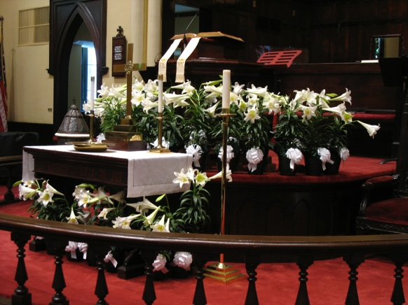 Decorate the church with flowers for easter