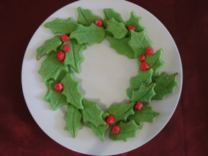 Edible Holly Christmas Wreath