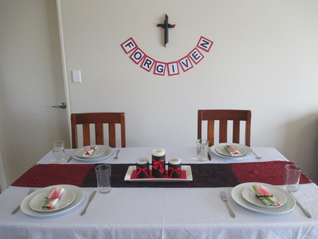 Good friday centerpiece and wall decorations