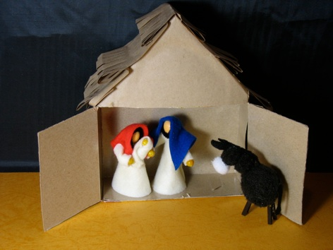 Empty Cardboard Box Stable For Nativity Set
